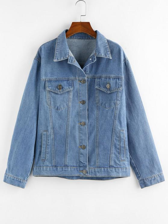 outfits Button Up Denim Jacket - BLUE L