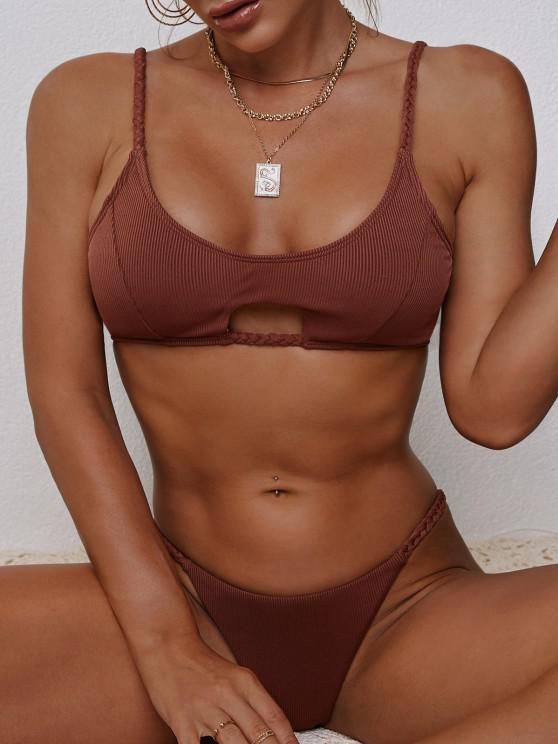 lady ZAFUL Ribbed Braided Keyhole Thong Bikini Swimwear - DEEP RED S