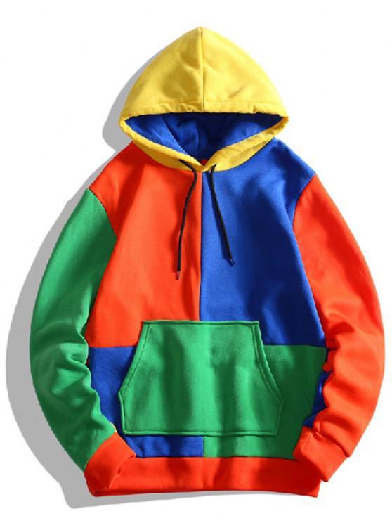 Color Blocking Panel Fleece Hoodie - متعددة C XS