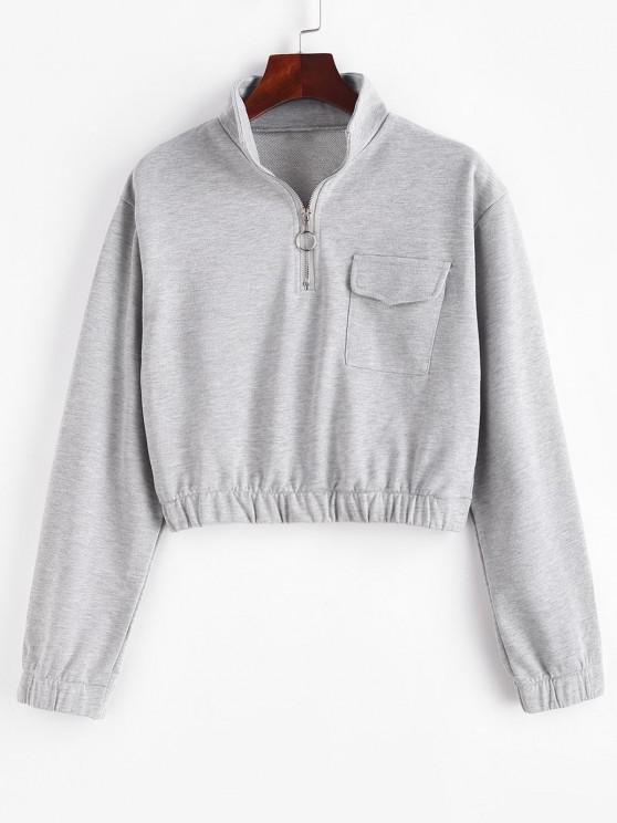 Half Zip High Neck Flap Pocket Cargo Sweatshirt - أوزة رمادية M