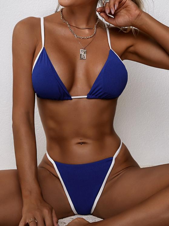 hot ZAFUL Ribbed Contrast Binding Tanga Bikini Swimwear - DEEP BLUE M