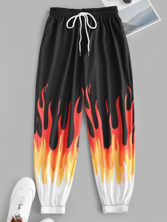 shops Drawstring Flame Print Jogger Pants - BLACK S