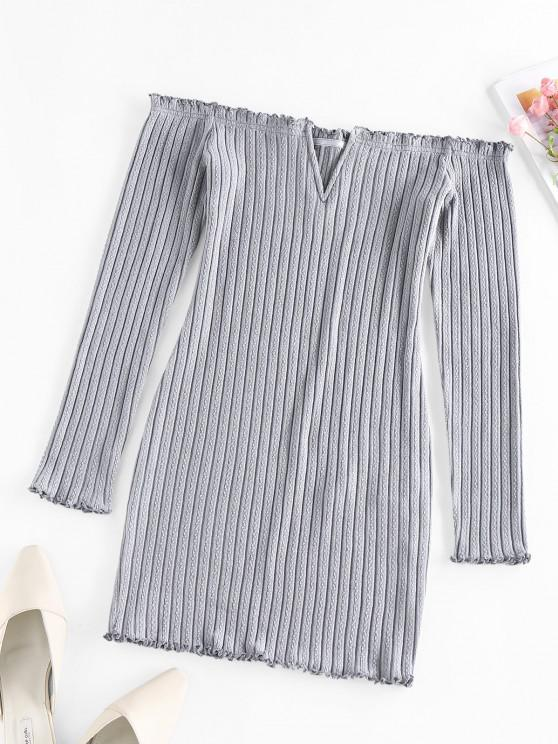 women's ZAFUL Off Shoulder Frilled V Wired Ribbed Dress - GRAY CLOUD XL