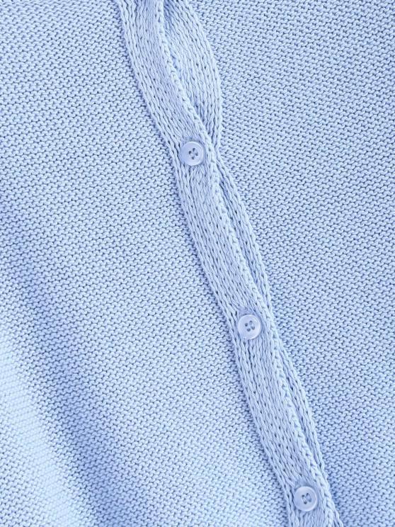 Drawstring Button Up Raglan Sleeve Cardigan - Denim Blue | ZAFUL