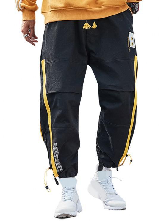outfits Speaker Letter Print Colorblock Cargo Pants - BLACK 2XL