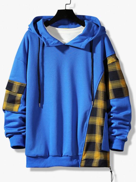 women Plaid Panel Pocket Drop Shoulder Hoodie - BLUEBERRY BLUE M