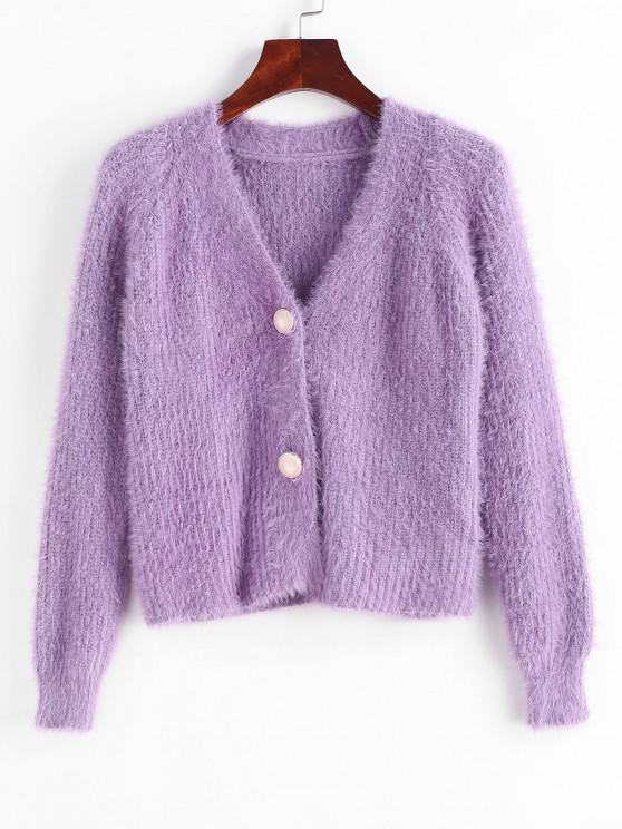 Button Up Fuzzy Mohair Cropped Cardigan - وردة بنفسجية حجم واحد