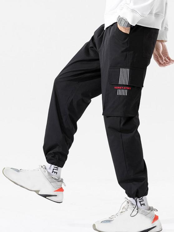 Letter Print Striped Embroidery Cargo Pants - أسود 3XL