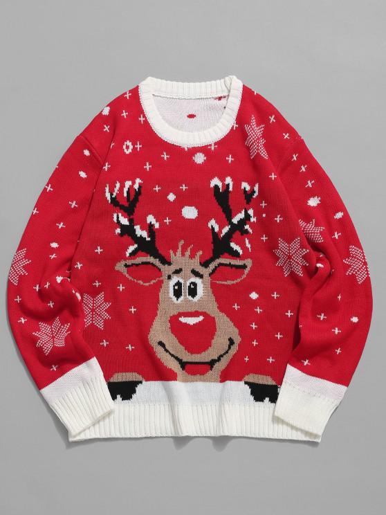 Pull en Tricot Motif Flocons de Neige et Cerf de Noël - Rouge Lave M