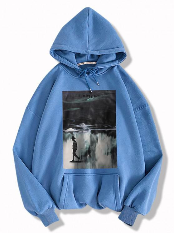 Graphic Print Drawstring Front Pocket Hoodie - الحرير الأزرق M