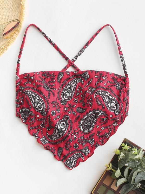buy ZAFUL Ribbed Paisley Print Bandana Cropped Bikini Top - RED L