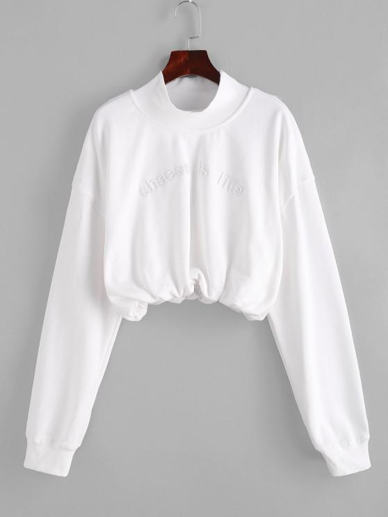 Embroidered High Neck Cropped Sweatshirt - حليب ابيض M