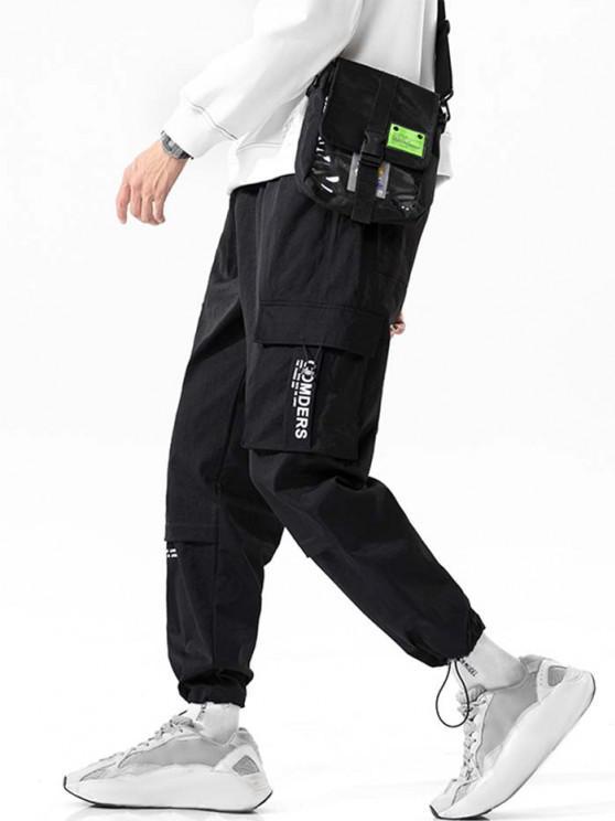 Letter Print Multi-Pocket Long Cargo Pants - أسود 4XL