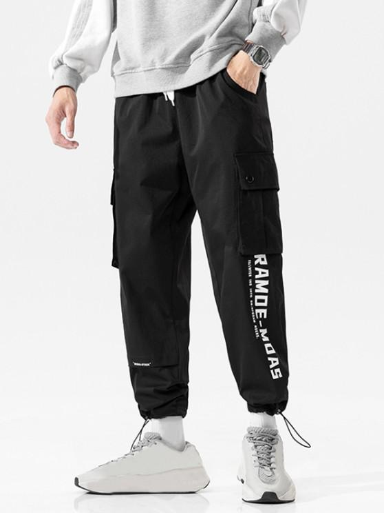 womens Flap Pocket Letter Print Casual Cargo Pants - BLACK XL