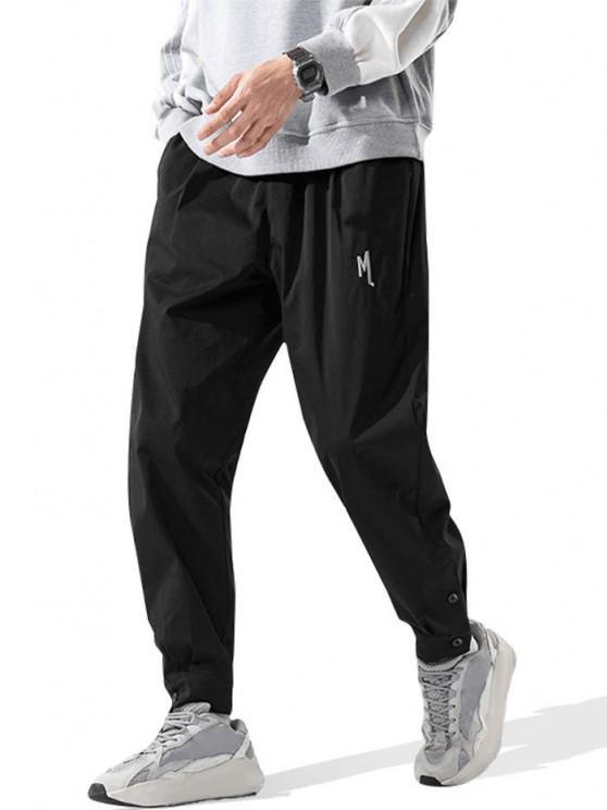 Pantalon Long Lettre Brodée à Ourlet avec Bouton - Noir 3XL