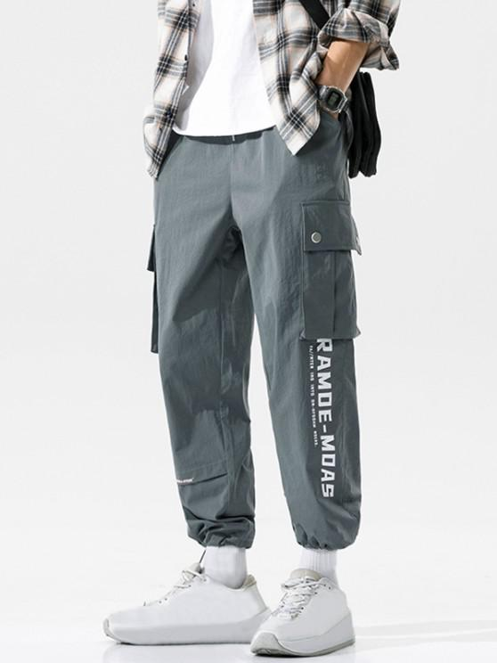 Flap Pocket Letter Print Casual Cargo Pants - الرمادي الداكن XL