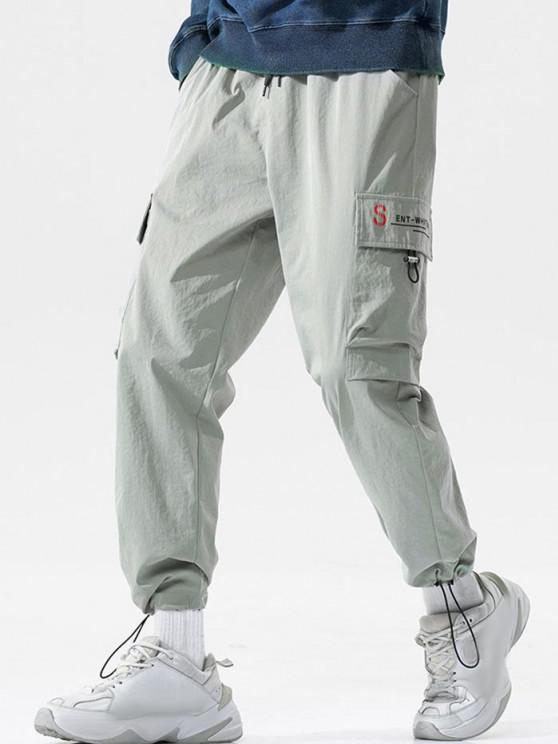 lady Letter Pattern Toggle Cuff Cargo Pants - LIGHT GRAY 3XL