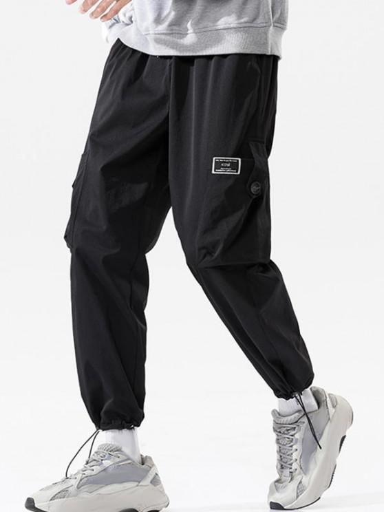 buy Button Pocket Toggle Cuff Cargo Pants - BLACK 4XL