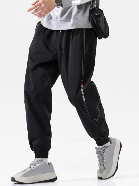 Pantalones Vaqueros con Bordado de Letras de Cintura Elástica - Negro 4XL