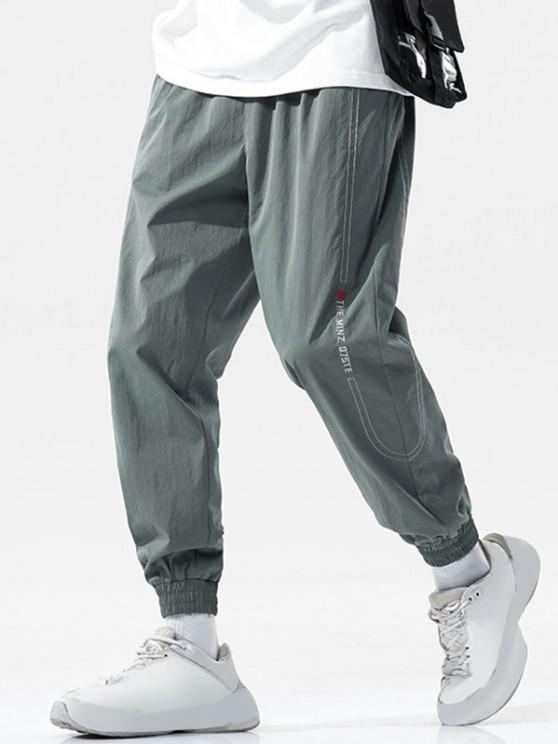 Pantalones Vaqueros con Bordado de Letras de Cintura Elástica - Gris Oscuro 3XL