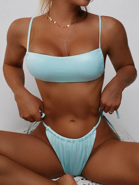 women ZAFUL Tie Side Shimmer Tanga Bikini Swimwear - GREEN M