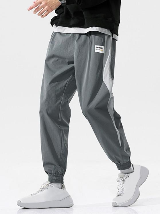 Pantalon Décontracté Panneau en Blocs de Couleurs à Pieds de Poutre - Gris Foncé XL
