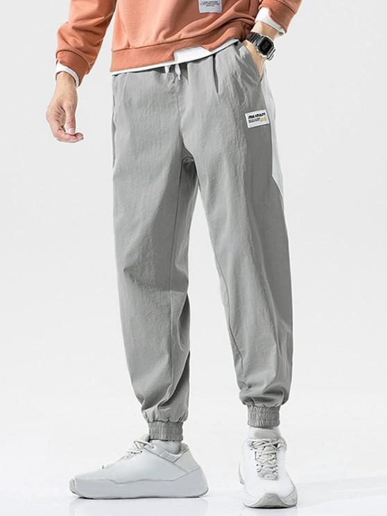 chic Color Blocking Panel Casual Beam Feet Pants - LIGHT GRAY L