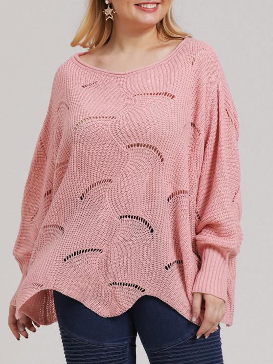 buy Plus Size Open-knit Asymmetric Sweater - LIGHT PINK L