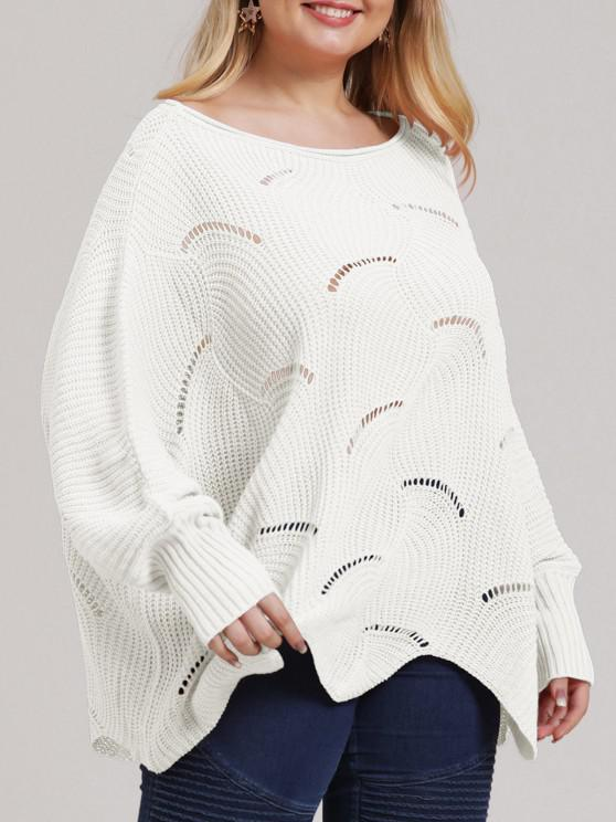 women's Plus Size Open-knit Asymmetric Sweater - WHITE L