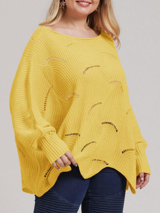 online Plus Size Open-knit Asymmetric Sweater - YELLOW 1XL
