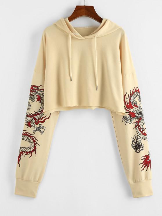 outfits ZAFUL Dragon Print Oriental Drop Shoulder Crop Hoodie - LIGHT COFFEE L