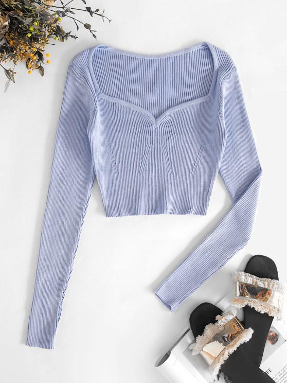 outfits Cropped Pointelle Knit Sweetheart Knitwear - PURPLE ONE SIZE