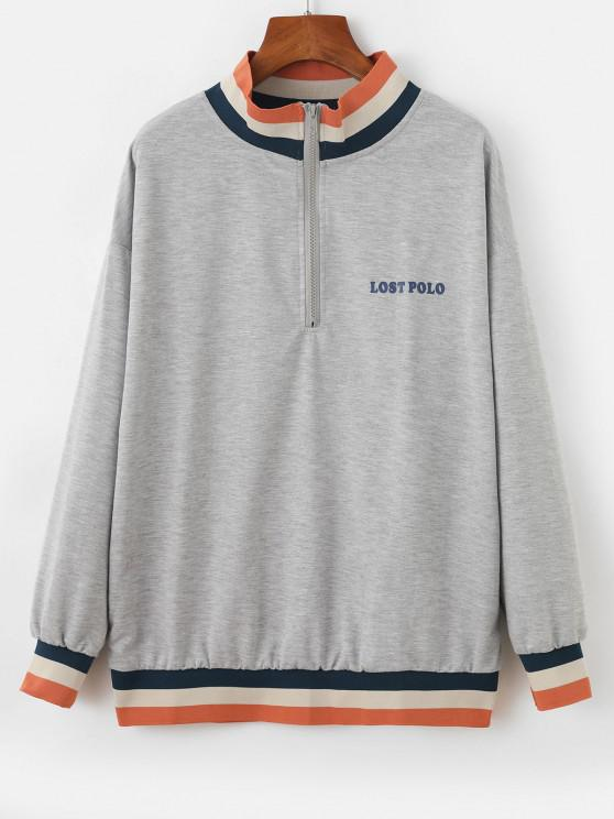 Half Zip Stripes Panel Letter Graphic Sweatshirt - اللون الرمادي XL