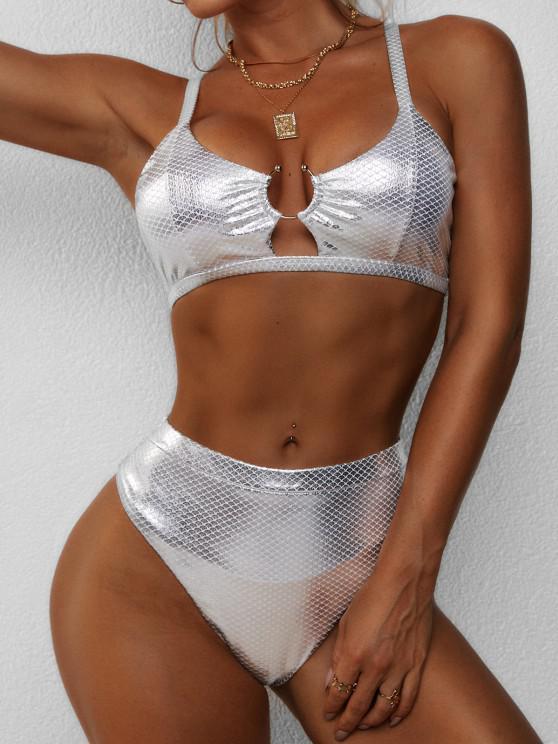trendy ZAFUL Metallic Scale Print Ring High Cut Bikini Swimwear - SILVER S