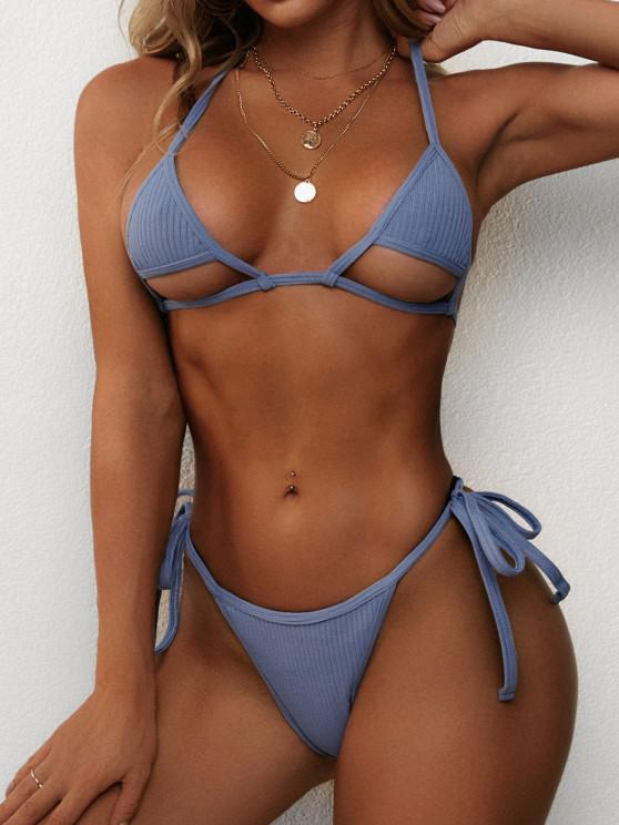 latest ZAFUL Ribbed Halter Cutout Tie Side String Bikini Swimwear - BLUE S