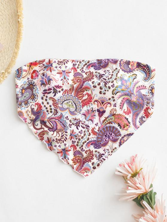 ZAFUL Ribbed Paisley Print Bandana Bikini Top - أبيض S