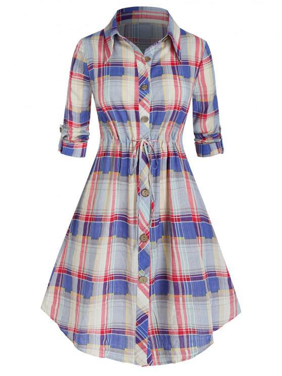 Robe Chemise à Carreaux Manches Roulées de Grande Taille à Cordon - Rose clair 1X