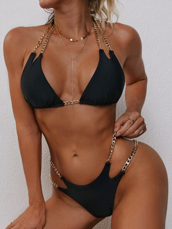 fashion ZAFUL Halter Metallic Chains Tanga Bikini Swimwear - BLACK S