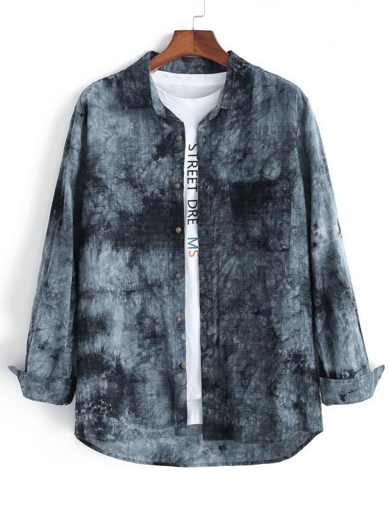best Tie Dye Plaid Long Sleeve Pocket Patch Shirt - MULTI XL