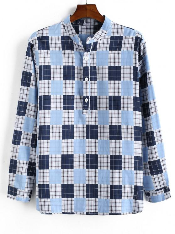 ladies Plaid Pattern Half Button Long Sleeve Shirt - LIGHT BLUE M