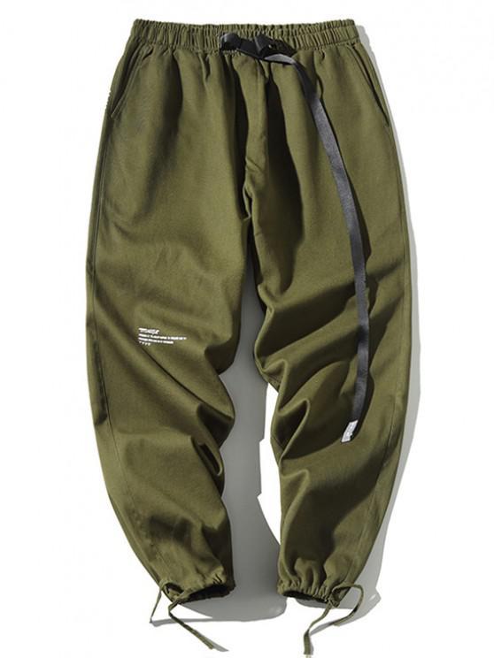 Letter Print Drawstring Cuff Pants - أخضر S