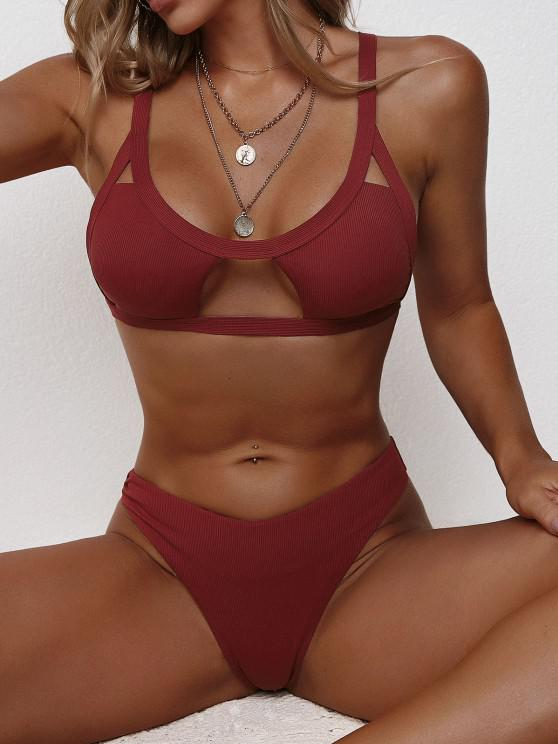 ZAFUL Ribbed Cutout Brazilian Bikini Swimwear - أحمر عميق S