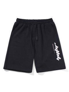 Letter Text Drawstring Straight Shorts - Black L