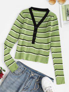 V Neck Ribbed Striped Button Placket Sweater - Light Green