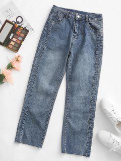 Raw Cut Hem Pocket High Rise Mom Jeans - Deep Blue M