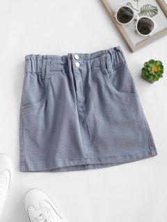 Solid Denim Paperbag Skirt - Blue Gray M