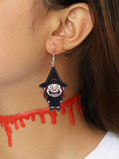 Halloween Cartoon Witch Earrings - Black