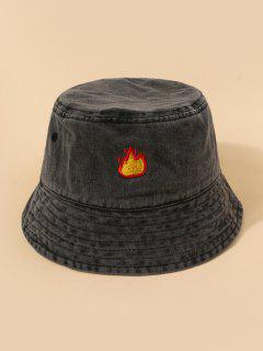 Embroidery Flame Pattern Bucket Hat - Black