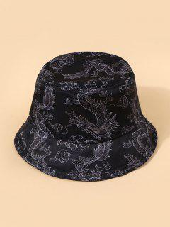 Chinese Style Dragon Print Casual Bucket Hat - Black