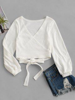 Knit Long Sleeve Wrap Top - White M